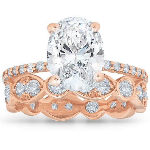 E/I1 2.75 Ct Oval Diamond Engagement Wedding Ring Set 14k Rose Gold Enhanced