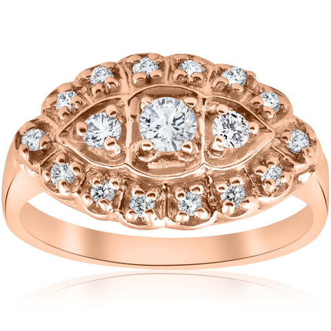 1/2ct Antique Diamond Anniversary Womens Art Deco Jewelry Ring 14K Rose Gold