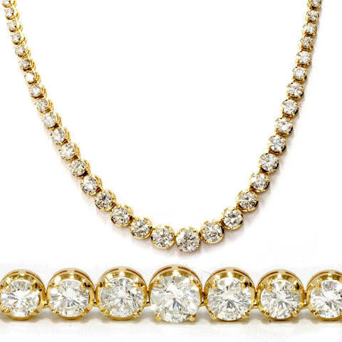 "21.29 ct Diamond 18K Yellow Gold Tennis Necklace 16"" (G-H,SI2-I1)"