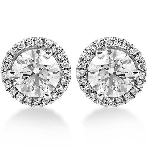 G SI1 1.65 ct Diamond Halo Studs White Gold Round Brilliant Cut Enhanced