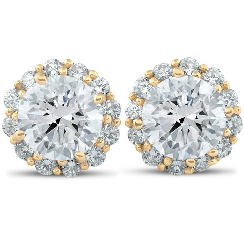 G-SI 2.60 Ct. Round Halo Diamond Studs 14k Yellow Gold Earrings Enhanced 9.6mm