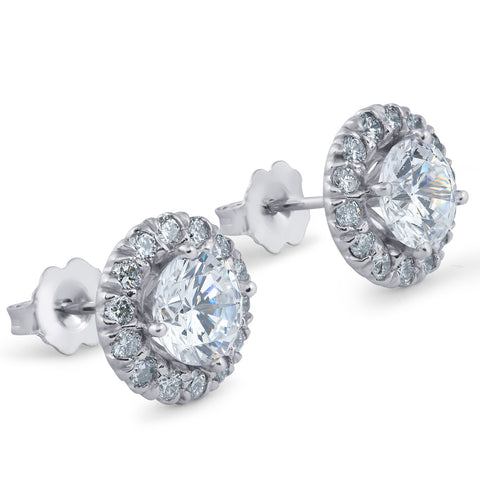 G-SI 2.70 Ct Round Halo Diamond Studs 14k White Gold Enhanced 10.9mm