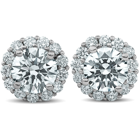 G-SI 2.20 Ct Halo Diamond Studs 14k White Gold Enhanced 10mm