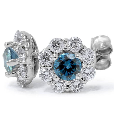 1 1/2CT Treated Blue & White Diamond Halo Stud Earrings Solid 14K White Gold