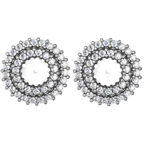 7/8ct Diamond Earring Studs Double Halo Jackets 14K White Gold (5-5.5mm)