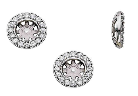 3/4ct Diamond Earring Studs Halo Jackets 14K Fit 3/4ct Diamonds (5.5-6mm)