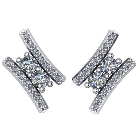 "3/8Ct Forever Us 2 Stone Diamond Studs Women's Earrings 14K White Gold 1/2"" tall"