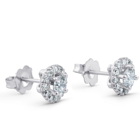 .90ct Halo Diamond Studs 14k White Gold