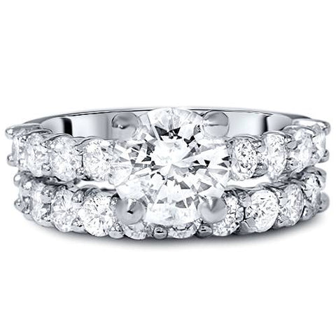 5ct Enhanced Diamond Eternity Bridal Engagement Wedding Ring Set 14K White Gold