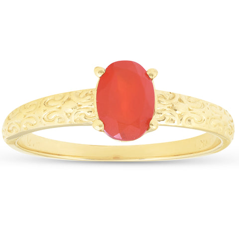 1ct Mexican Fire Opal Vintage Ring 14k Yellow Gold