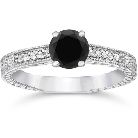 1 1/5ct Vintage Treated Black & White Diamond Engagement Ring 14K White Gold