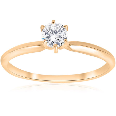 14k Yellow Gold 1/4ct Round Diamond Solitaire Engagement Ring Jewelry Brilliant