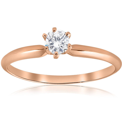 1/4 ct Solitaire Diamond Engagement Ring 14k Rose Gold Brilliant Cut Jewelry
