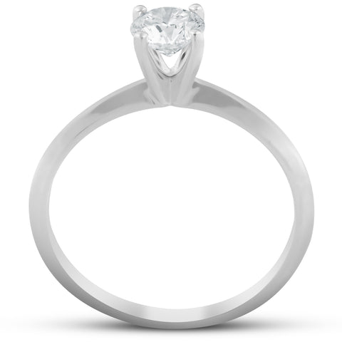 1/3ct Round Solitaire Lab Created Diamond Engagement Ring 14K White Gold