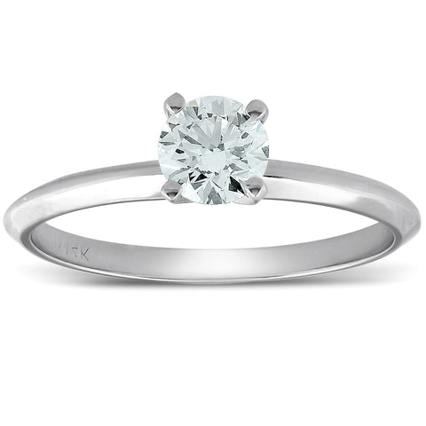 0.35Ct Round Diamond Engagement Solitaire Ring 14K White Gold