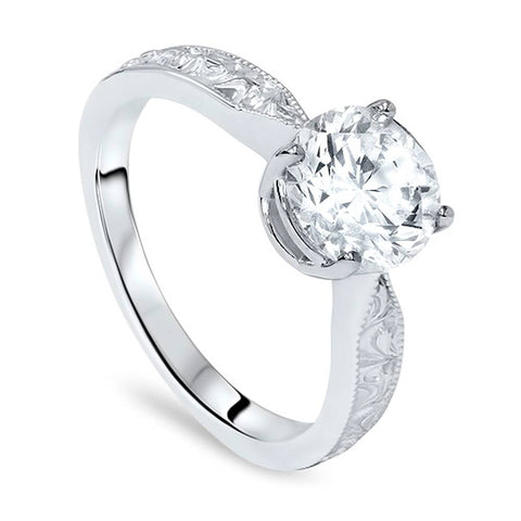 1 1/2ct Solitaire Vintage Diamond Engagement Ring 14K White Gold Enhanced