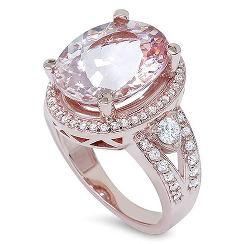 9ct Morganite & Diamond Engagement Ring 14K Rose Gold Halo Split Shank
