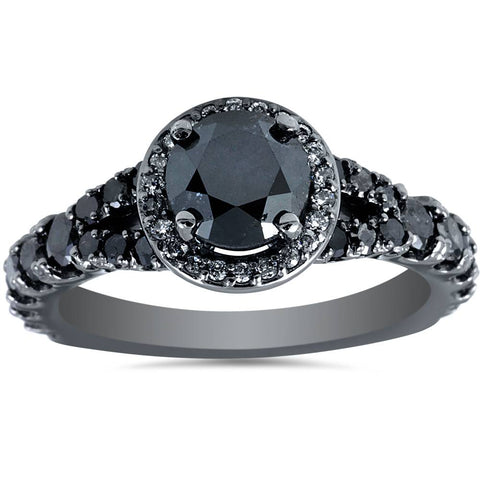 1 3/8ct Treated Black Diamond Split Shank Halo Engagement Ring 14K White Gold