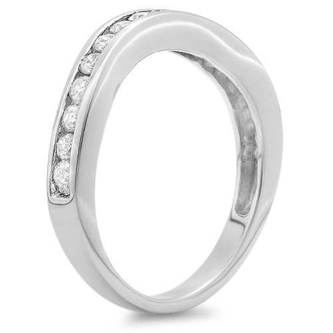 1 1/20ct Curved Diamond Wedding Ring Enhancer 14K White Gold