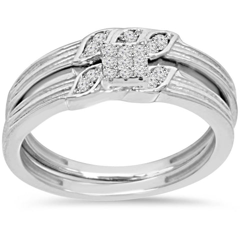 1/6ct Diamond Engagement Wedding Ring Set 10K White Gold