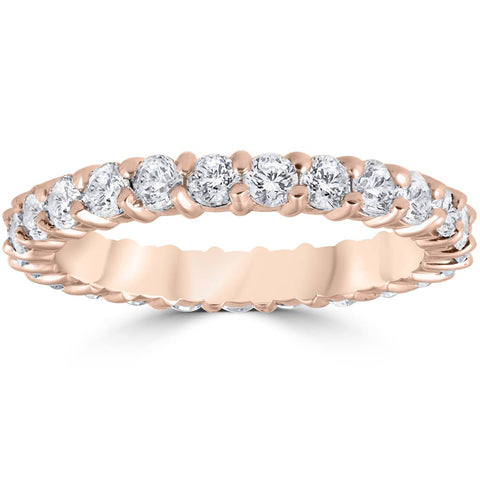 1ct G/SI Diamond Eternity Ring 14k Rose Gold Wedding Band Stackable Jewelry