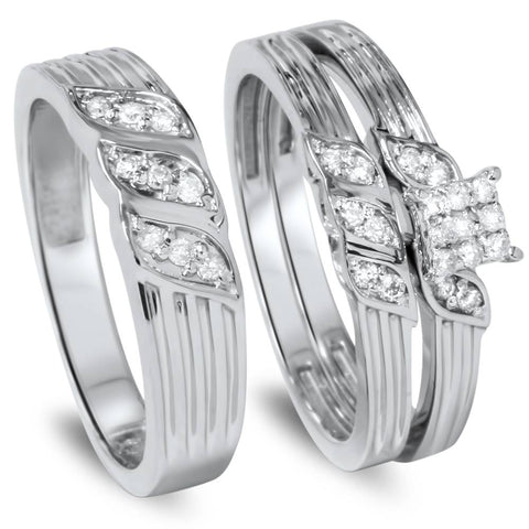 1/3ct Engagement Trio Ring Set 10K White Gold
