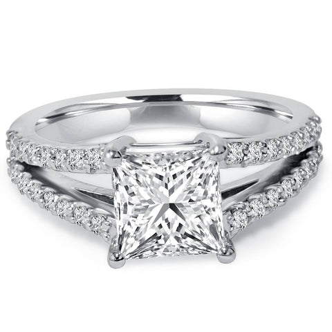 1 1/3Ct Princess Cut Split Shank Enhanced Diamond Engagement Ring 14K White Gold