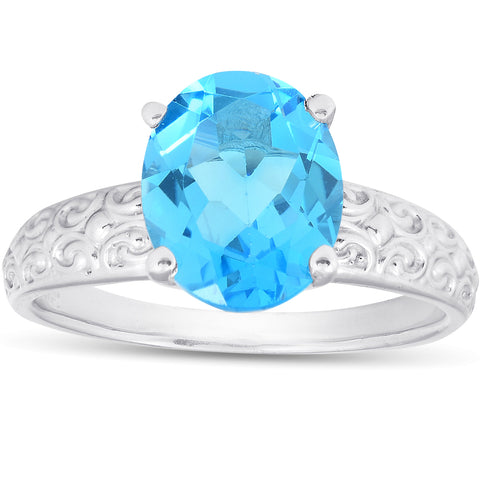 2ct Oval Blue Topaz Vintage Engagement Ring 10K White Gold