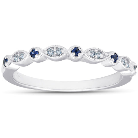 1/5 ct Blue Sapphire & Diamond Wedding Ring Stackable Band 10k White Gold Heated