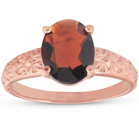 2ct Oval Garnet Solitaire Vintage Engagement Anniversary Ring 10K Rose Gold