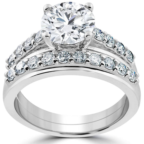 3ct round diamond solitaire engagement ring wedding band set white gold enhanced - Engagement Ring And Wedding Band Set