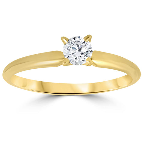 1/3ct Round Diamond Solitaire Brilliant Cut Engagement Ring 14K Yellow Gold