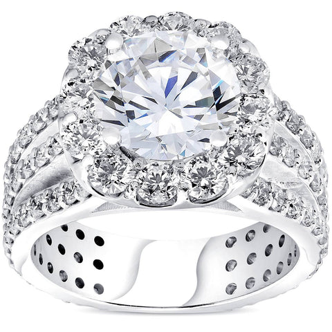 4 1/2ct Cushion Halo Diamond 3-Row Engagement Ring 14k White Gold Enhanced
