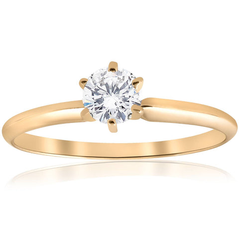 0.50 Ct Round Cut Diamond Yellow Gold Solitaire Engagement Ring Band Size 4-10