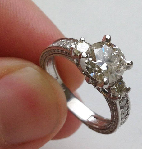 1 3/4ct Vintage Diamond Engagement Ring 14K White Gold Enhanced