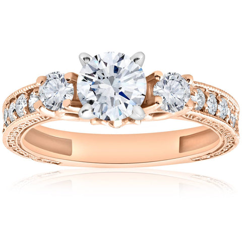 1 Ct Vintage Real Diamond 3 Stone Engagement Ring 14K Rose Gold Antique  Round Cut