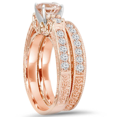 1 1/2Ct Vintage Diamond & Morganite Engagement Wedding Ring Set 14K Rose Gold