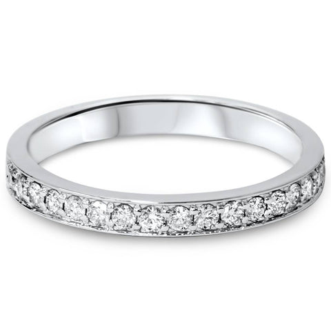 1/3ct Stackable Diamond Wedding Ring 14K White Gold