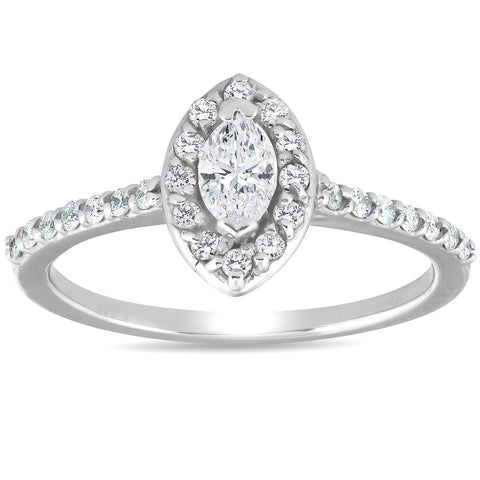 1/2ct Halo Marquise Diamond Engagement 14K White Gold Ring