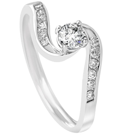 1/2ct Twist Diamond Engagement Wedding Ring Set 14K White Gold