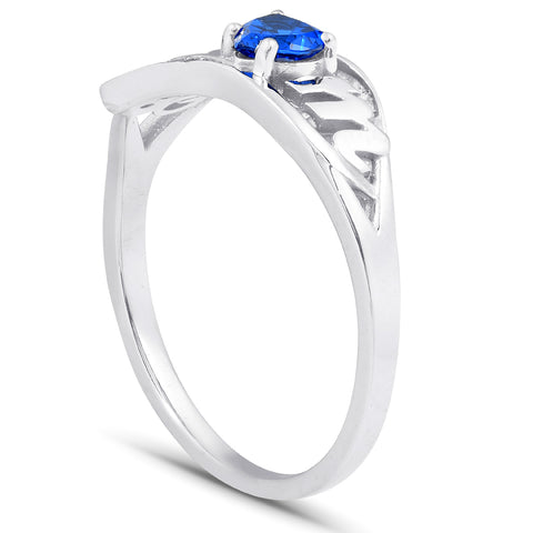 5/8ct Simulated Blue Heart Sapphire & Genuine Diamond MOM Ring 10K White Gold