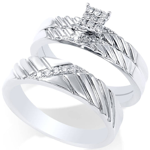 1/4ct Diamond Engagement Matching Wedding Ring Set 14K White Gold