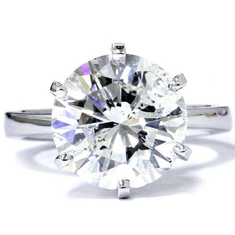 6ct Round Solitaire Diamond Clarity Enahanced Engagement Ring 6-Prong 14K WG