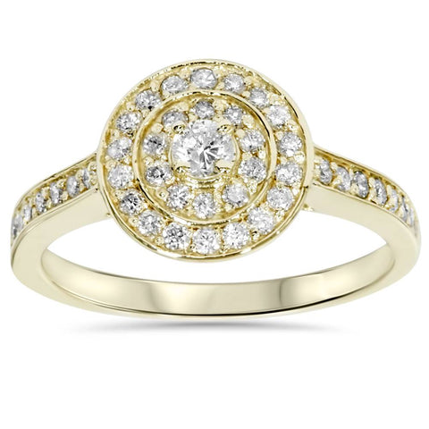 1/2 Carat Round Genuine Diamond Double Halo Engagement Ring 10 Kt Yellow Gold