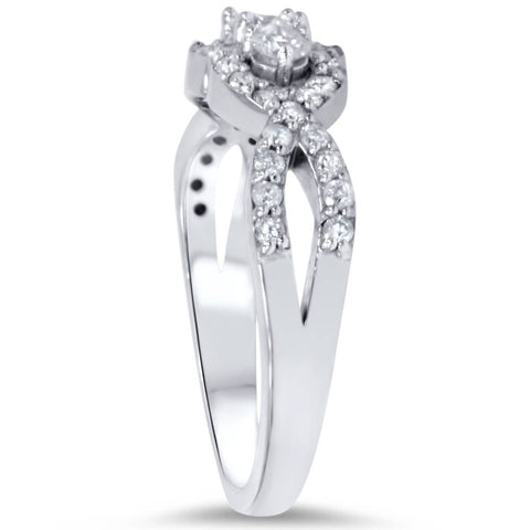 3/4ct 3-Stone Diamond Infinity Engagement Ring 10K White Gold