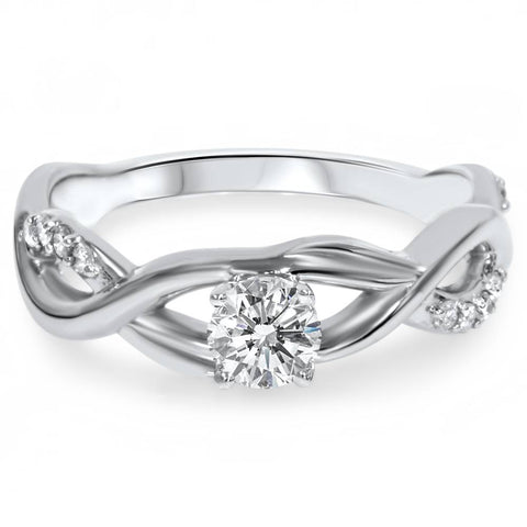 1/2Ct Vintage Infinity Diamond Engagement Ring 14K White Gold