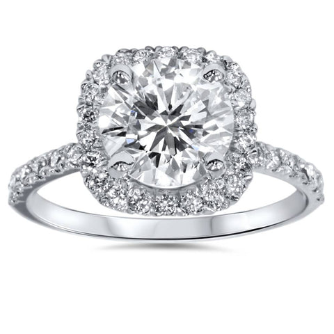 Platinum 1 ct Diamond Engagement Ring Cushion Halo Ring Enhanced (G-SI)