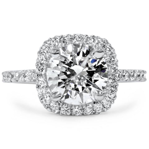 1 3/4 CT Cushion Halo Diamond Engagement Ring Round G-SI 14K White Gold Enhanced