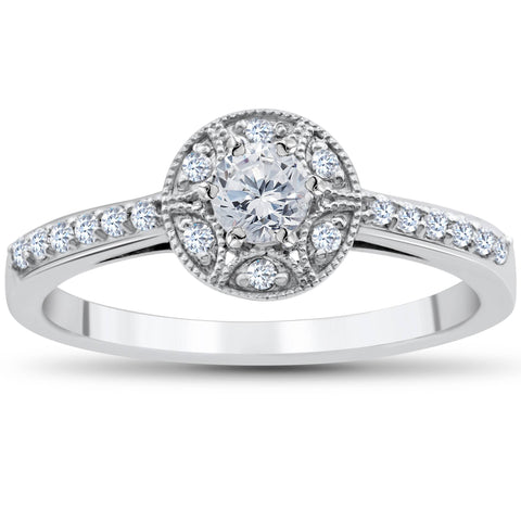 1/2 Carat Vintage Diamond Halo Solitaire Round Engagement Ring 10K White Gold