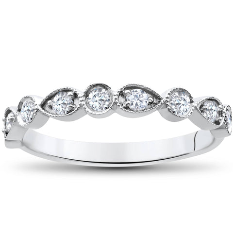 1/4Ct Diamond Wedding Ring Womens Stackable 10k White Gold Anniversary Band